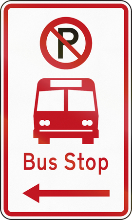 bus parking: New Zealand road sign RP-5.1 - No Parking in the bus bay.