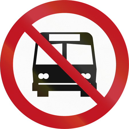 prohibiting: Custom sign prohibiting buses in New Zealand.