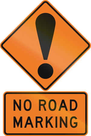 general warning: Road sign assembly in New Zealand - No road makring.