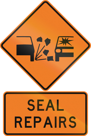 chippings: Road sign assembly in New Zealand - Seal repairs.