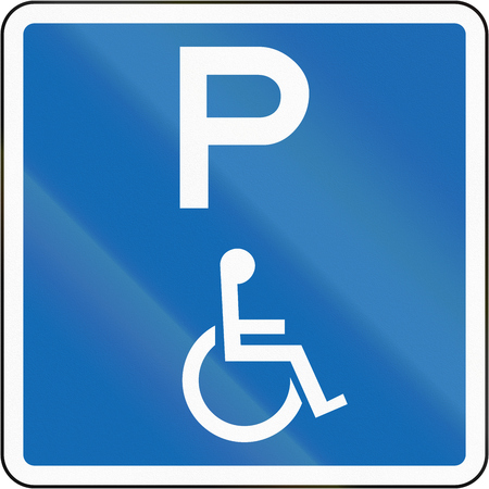 physical impairment: New Zealand road sign - This parking space is reserved for disabled persons with no time limit.