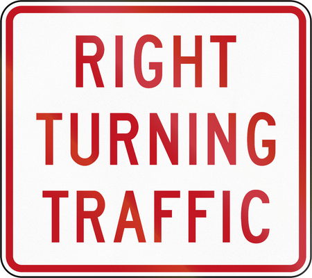 new zealand word: New Zealand road sign RG-6.3 - Right Turning Traffic. Stock Photo