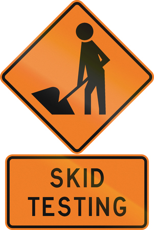 skid: Road sign assembly in New Zealand - Skid testing.