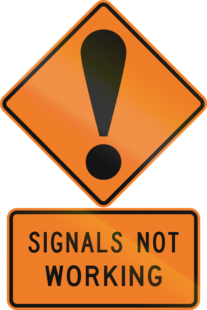 general warning: Road sign assembly in New Zealand - Signals not working. Stock Photo