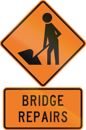 road construction: Road sign assembly in New Zealand - Bridge repairs.