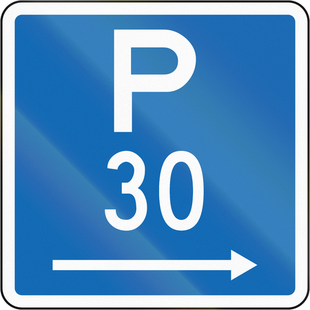 span: New Zealand road sign - Parking permitted during standard hours for a maximum time of 30 minutes, on the right of this sign.