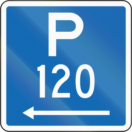 permitted: New Zealand road sign - Parking permitted during standard hours for a maximum time of 120 minutes, on the left of this sign. Stock Photo