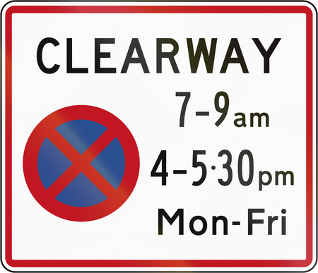stopping: New Zealand road sign RP-3.1 - Clearway (No Stopping) during time prescribed (two peak times).
