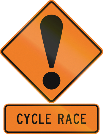 general warning: Road sign assembly in New Zealand - Cycle race. Stock Photo