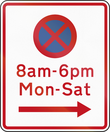 prescribed: New Zealand road sign RP-2 - No stopping at th etimes and in the direction prescribed. Stock Photo