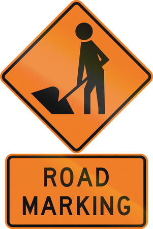 road marking: Road sign assembly in New Zealand - Road marking. Stock Photo