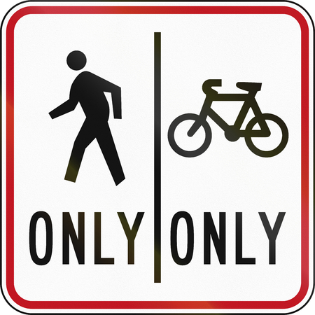 defined: New Zealand road sign RG-26D - Shared Pedestrian and Cycle Path with defined positions.