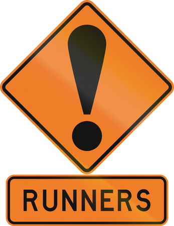 general warning: Road sign assembly in New Zealand - Runners. Stock Photo