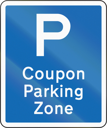repeater: New Zealand road sign - Coupon parking zone repeater sign. Stock Photo