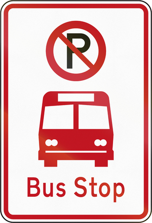 bus parking: New Zealand road sign RP-5 - No Parking in the bus bay.