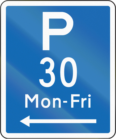 span: New Zealand road sign - Parking permitted during non-standard hours for a maximum time of 30 minutes, on the left of this sign. Stock Photo