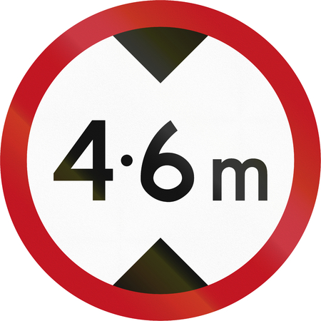 height: New Zealand road sign RG-12 - Height Restriction. Stock Photo