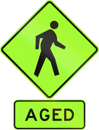 Road sign assembly in New Zealand - Aged pedestrians, fluorescent version. Stock Photo