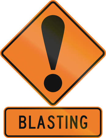 general warning: Road sign assembly in New Zealand - Blasting. Stock Photo
