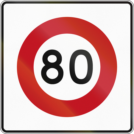 limit: New Zealand road sign RG-1 - 80 kmh limit.