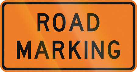 road marking: New Zealand road sign - Road marking is being done.