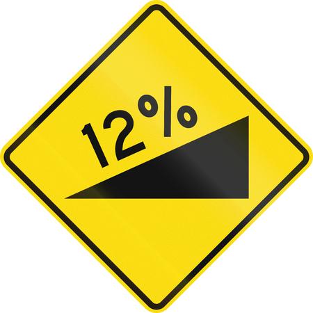 steep by steep: New Zealand road sign - warning of a steep upward grade. Stock Photo