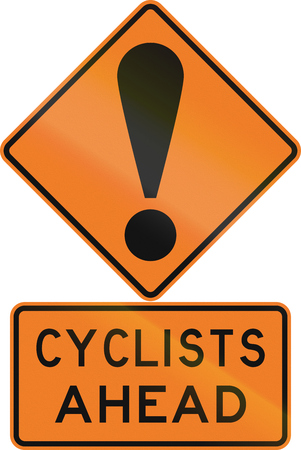 general warning: Road sign assembly in New Zealand - Cyclists ahead.