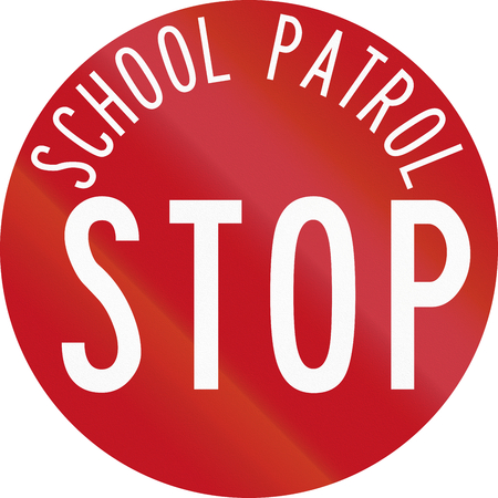 patrol: New Zealand road sign RG-28 - Stop for School Patrol.