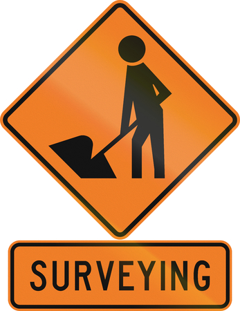 surveying: Road sign assembly in New Zealand - Surveying. Stock Photo