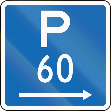 permitted: New Zealand road sign - Parking permitted during standard hours for a maximum time of 60 minutes, on the right of this sign. Stock Photo