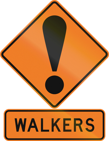 general warning: Road sign assembly in New Zealand - Pedestrian.