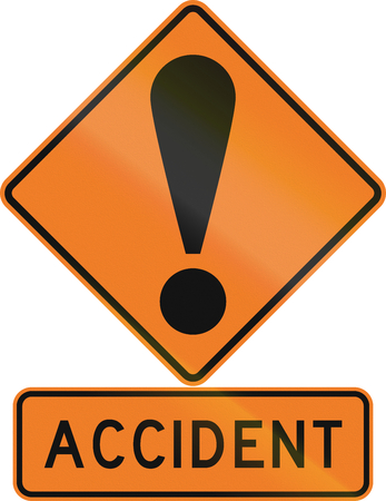 general warning: Road sign assembly in New Zealand - Accident. Stock Photo