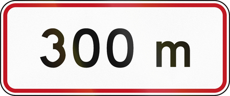 number plate: New Zealand road sign RH-5 - 300 metres ahead.