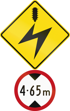 electrical cables: Road sign assembly in New Zealand - Low clearance due to electrical cables.