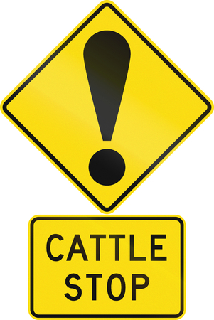 general warning: Road sign assembly in New Zealand - Cattle stop.