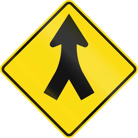 뉴질랜드 도로 표지판 - 앞서 병합. 스톡 콘텐츠