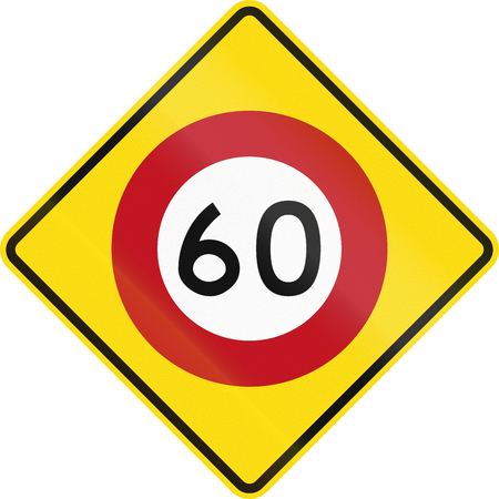 road warning sign: New Zealand road warning sign - Speed limit ahead. Stock Photo