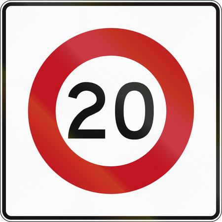 New Zealand road sign RG-1 - 20 kmh limit. Stock fotó