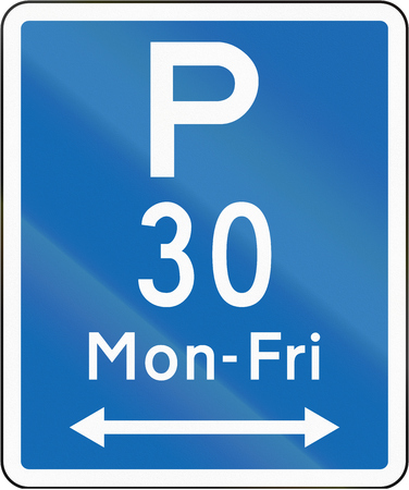 permitted: New Zealand road sign - Parking permitted during non-standard hours for a maximum time of 30 minutes, on both sides of this sigfn. Stock Photo