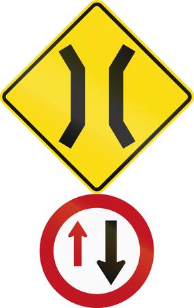 narrow: Road sign assembly in New Zealand - Narrow bridge.