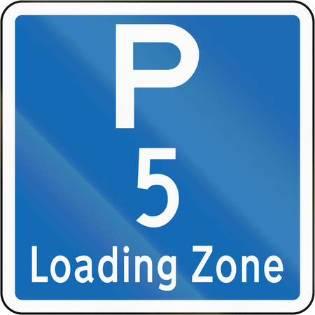 new zealand word: New Zealand road sign - Loading Zone parking for a 5 minute maximum. Stock Photo