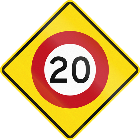 limit: New Zealand road warning sign - Speed limit ahead. Stock Photo