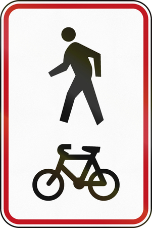 walking path: New Zealand road sign RG-26C - Shared Pedestrian and Cycle Path. Stock Photo