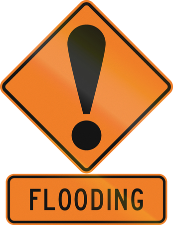 general warning: Road sign assembly in New Zealand - Flooding.
