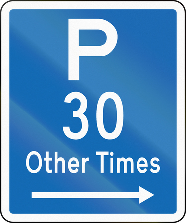 permitted: New Zealand road sign - Parking permitted at other times for a maximum time of 30 minutes, on the right of this sign.