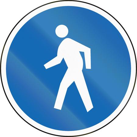 pedestrians: New Zealand road sign RG-25 - Pedestrians only (pedestrian zone or pathway). Stock Photo