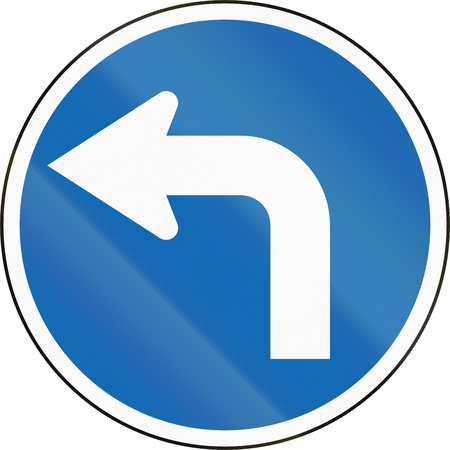 turn left: New Zealand road sign RG-12 - Turn left. Stock Photo