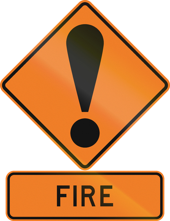 general warning: Road sign assembly in New Zealand - Fire.