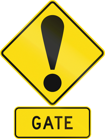 general warning: Road sign assembly in New Zealand - Gate.