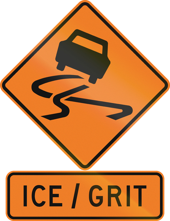 grit: Road sign assembly in New Zealand - Ice, Grit. Stock Photo